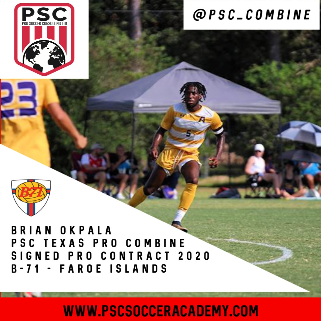 Pro soccer Tryout Texas Brian Okpala signs